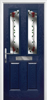 2 Panel 2 Angle Mackintosh Rose Composite Front Door in Blue