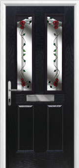 2 Panel 2 Angle Mackintosh Rose Composite Front Door in Black