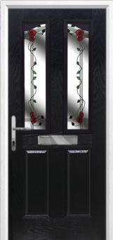 2 Panel 2 Angle Mackintosh Rose Composite Front Door in Black