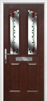 2 Panel 2 Angle Mackintosh Rose Composite Front Door in Darkwood