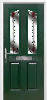 2 Panel 2 Angle Mackintosh Rose Composite Front Door in Green