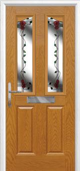 2 Panel 2 Angle Mackintosh Rose Composite Front Door in Oak