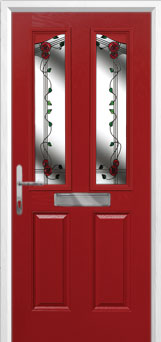 2 Panel 2 Angle Mackintosh Rose Composite Front Door in Red