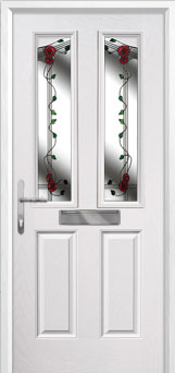 2 Panel 2 Angle Mackintosh Rose Composite Front Door in White