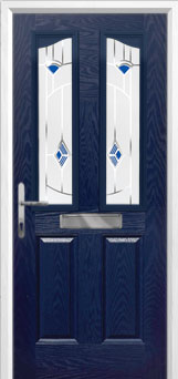 2 Panel 2 Angle Murano Composite Front Door in Blue