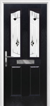 2 Panel 2 Angle Murano Composite Front Door in Black