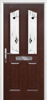 2 Panel 2 Angle Murano Composite Front Door in Darkwood