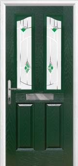 2 Panel 2 Angle Murano Composite Front Door in Green