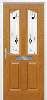 2 Panel 2 Angle Murano Composite Front Door in Oak