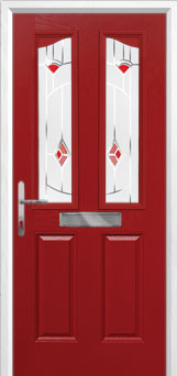2 Panel 2 Angle Murano Composite Front Door in Red
