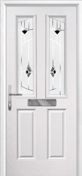2 Panel 2 Angle Murano Composite Front Door in White