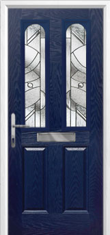 2 Panel 2 Arch Abstract Composite Front Door in Blue