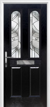 2 Panel 2 Arch Abstract Composite Front Door in Black