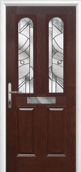 2 Panel 2 Arch Abstract Composite Front Door in Darkwood