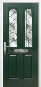 2 Panel 2 Arch Abstract Composite Front Door in Green