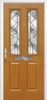 2 Panel 2 Arch Abstract Composite Front Door in Oak