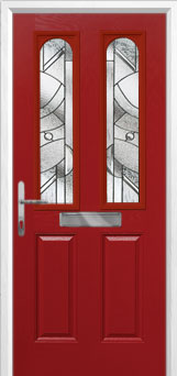 2 Panel 2 Arch Abstract Composite Front Door in Red