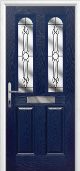 2 Panel 2 Arch Crystal Bohemia Composite Front Door in Blue