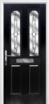 2 Panel 2 Arch Crystal Bohemia Composite Front Door in Black