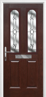 2 Panel 2 Arch Crystal Bohemia Composite Front Door in Darkwood