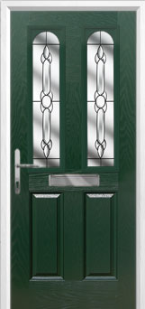 2 Panel 2 Arch Crystal Bohemia Composite Front Door in Green