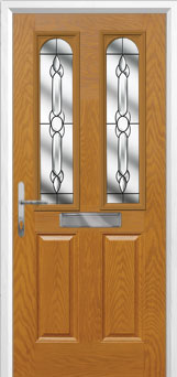 2 Panel 2 Arch Crystal Bohemia Composite Front Door in Oak