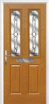 2 Panel 2 Arch Crystal Bohemia Composite Front Door in Oak