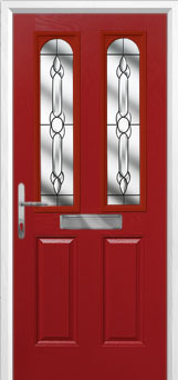 2 Panel 2 Arch Crystal Bohemia Composite Front Door in Red