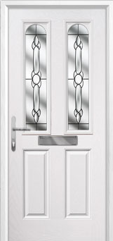 2 Panel 2 Arch Crystal Bohemia Composite Front Door in White