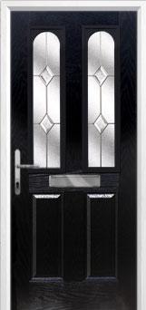2 Panel 2 Arch Classic Composite Front Door in Black