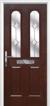 2 Panel 2 Arch Classic Composite Front Door in Darkwood