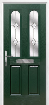 2 Panel 2 Arch Classic Composite Front Door in Green