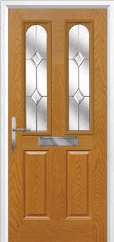2 Panel 2 Arch Classic Composite Front Door in Oak