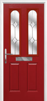 2 Panel 2 Arch Classic Composite Front Door in Red