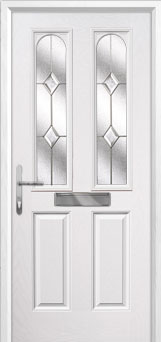 2 Panel 2 Arch Classic Composite Front Door in White