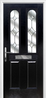 2 Panel 2 Arch Crystal Diamond Composite Front Door in Black