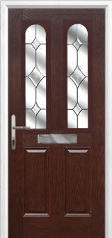 2 Panel 2 Arch Crystal Diamond Composite Front Door in Darkwood