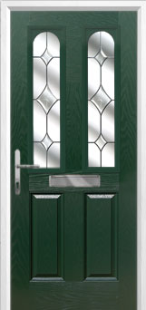 2 Panel 2 Arch Crystal Diamond Composite Front Door in Green