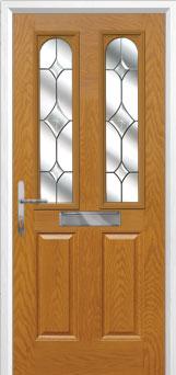 2 Panel 2 Arch Crystal Diamond Composite Front Door in Oak