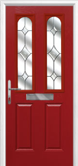 2 Panel 2 Arch Crystal Diamond Composite Front Door in Red