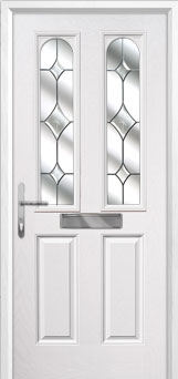 2 Panel 2 Arch Crystal Diamond Composite Front Door in White