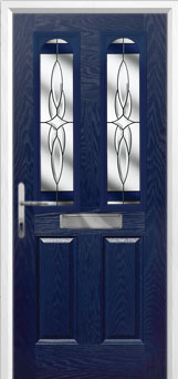 2 Panel 2 Arch Crystal Harmony Composite Front Door in Blue
