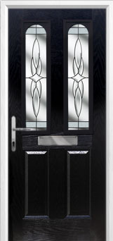 2 Panel 2 Arch Crystal Harmony Composite Front Door in Black