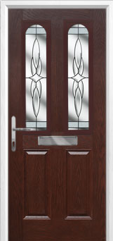 2 Panel 2 Arch Crystal Harmony Composite Front Door in Darkwood