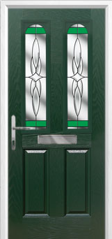 2 Panel 2 Arch Crystal Harmony Composite Front Door in Green