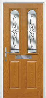 2 Panel 2 Arch Crystal Harmony Composite Front Door in Oak
