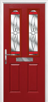 2 Panel 2 Arch Crystal Harmony Composite Front Door in Red