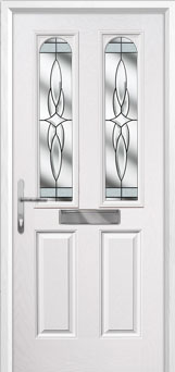 2 Panel 2 Arch Crystal Harmony Composite Front Door in White