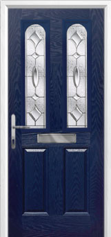 2 Panel 2 Arch Zinc/Brass Art Clarity Composite Front Door in Blue