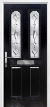 2 Panel 2 Arch Zinc/Brass Art Clarity Composite Front Door in Black